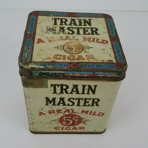 Vintage Tin 1926 Train Master rectangular 50 cigar